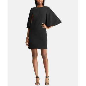 Ralph Laurel LRL Black Crepe Overlay Cape Dress
